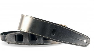 SILVER Leather Guitar Strap